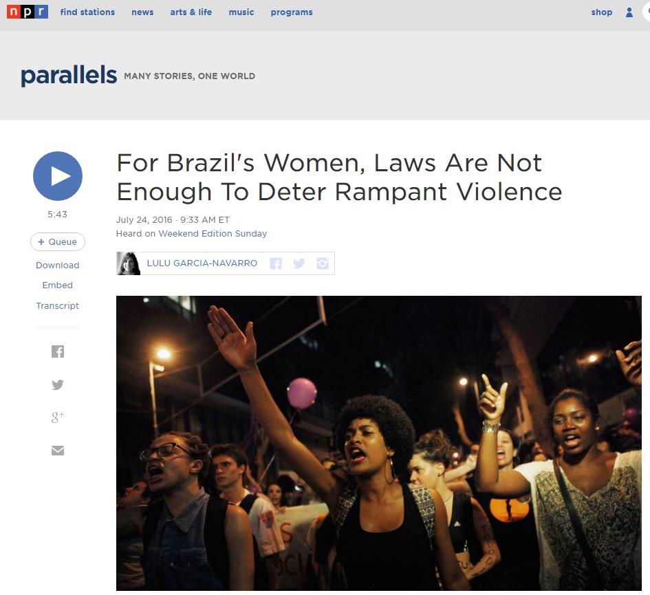 Brasil é um dos países mais perigosos para ser mulher, diz rádio americana