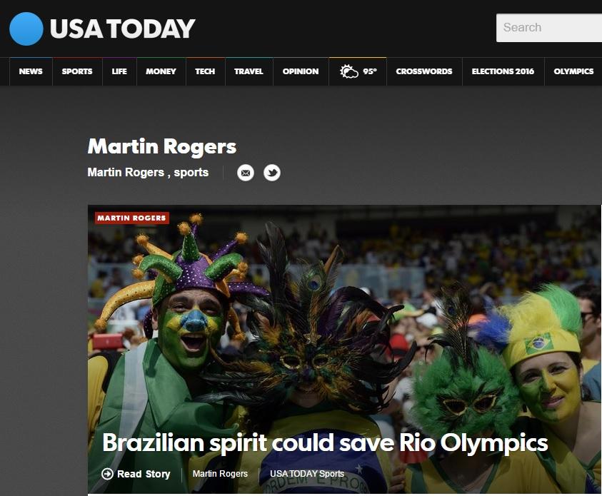 "'Espírito do Brasil' pode salvar Olimpíada do Rio, diz ""USA Today"""