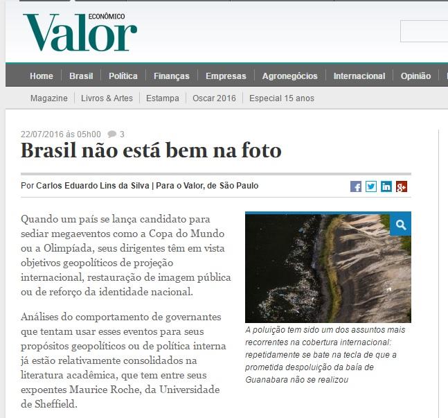 Deu no 'Valor': Cobertura da Olimpíada impulsiona imagem negativa do Brasil