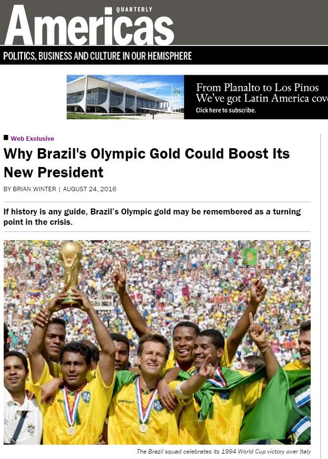 Brian Winter: Ouro do futebol pode marcar fim da crise política do Brasil