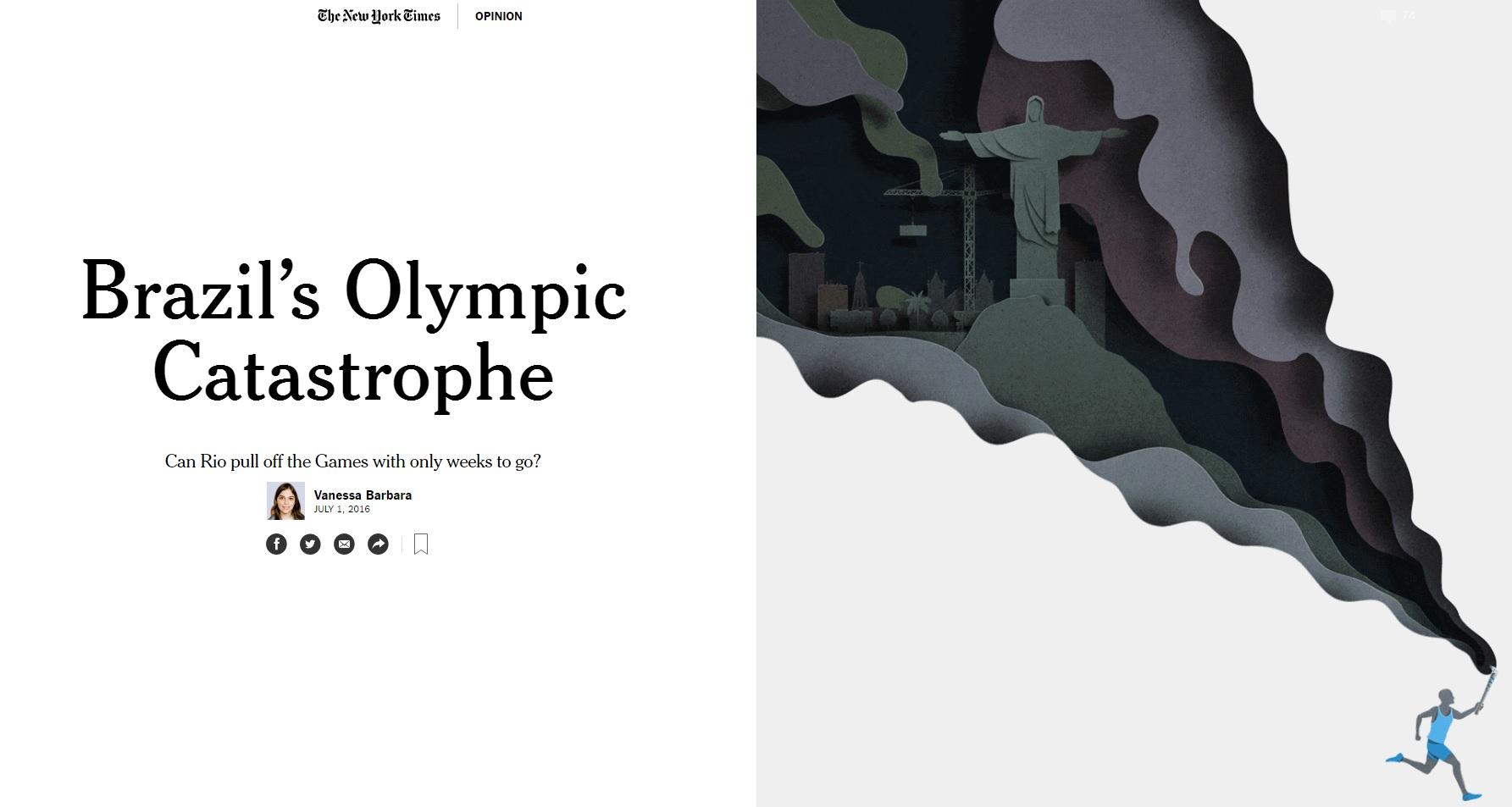 Artigo do 'New York Times' fala em possível 'catástrofe' no Rio