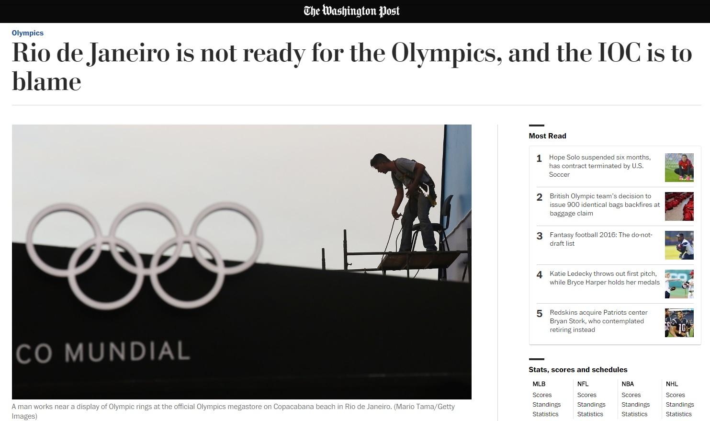 'Washington Post' dizia que Rio não estava pronto para os Jogos