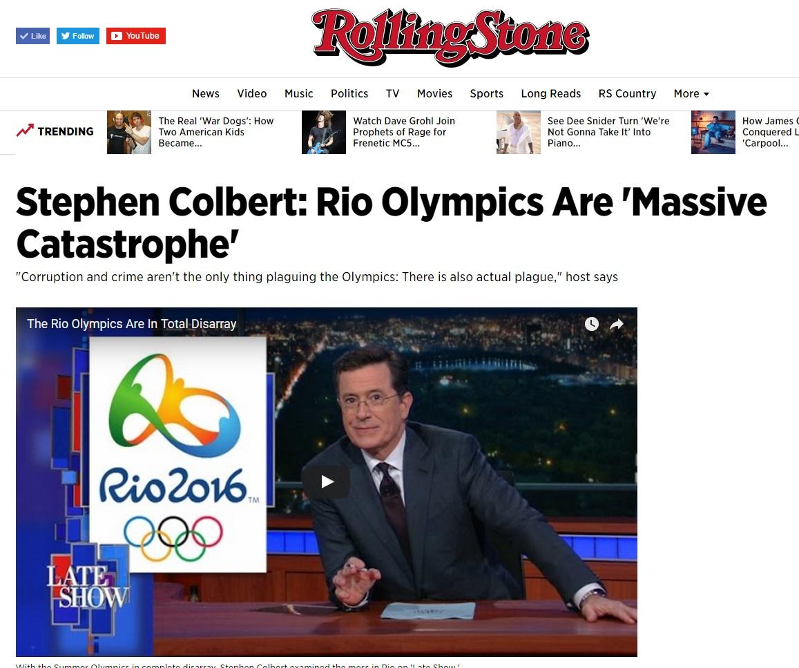 Programa de TV dos EUa chama Olimpíada de catástrofe