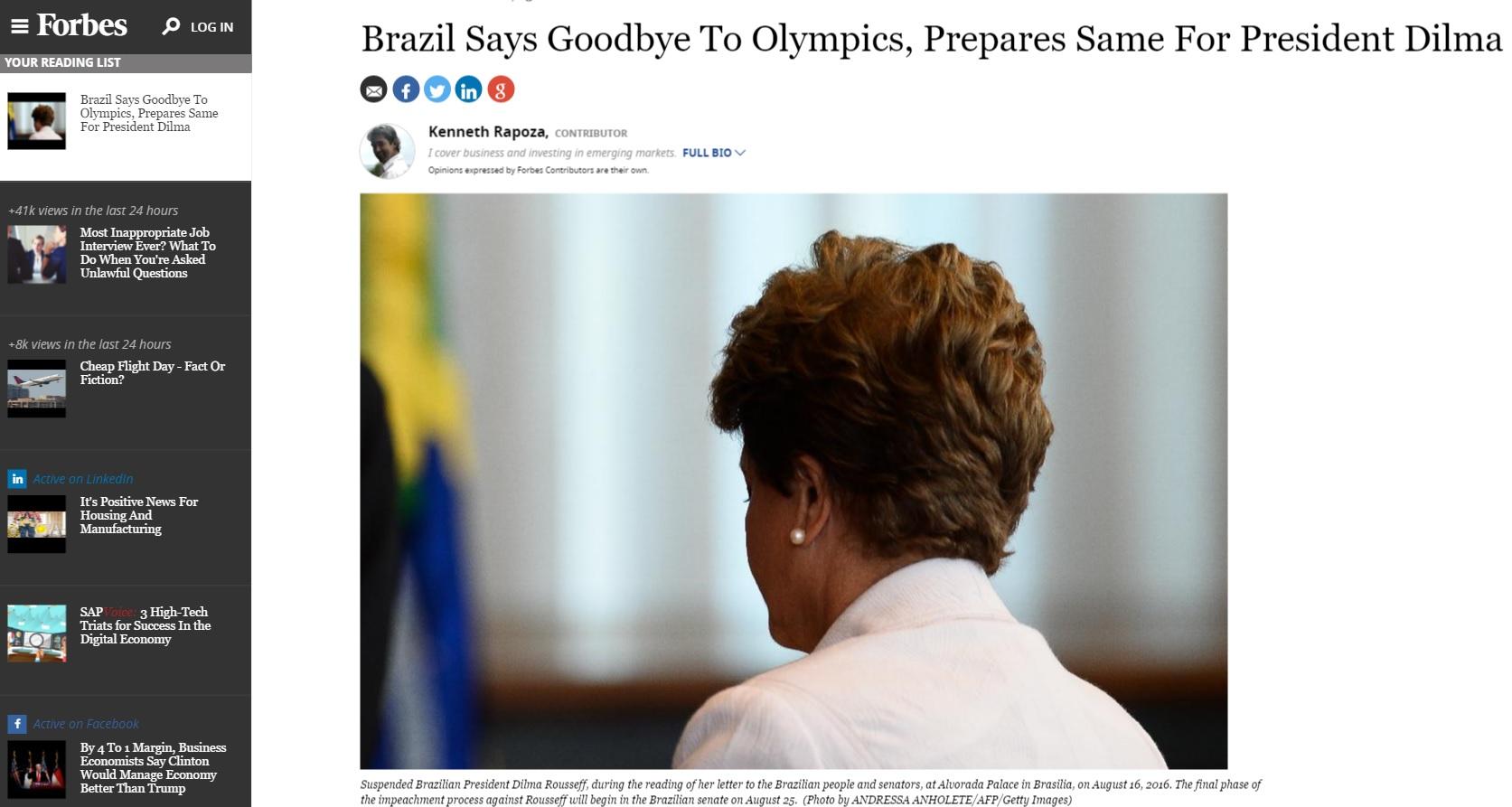 'Forbes': Brasil dá adeus a Olimpíada e já prepara despedida de Dilma