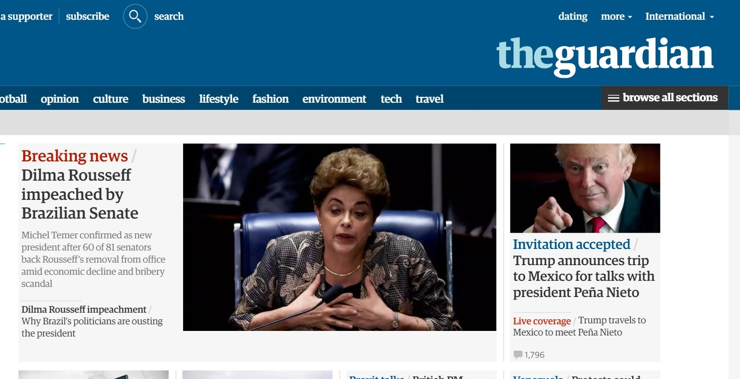 'Breaking News': imprensa internacional noticia impeachment de Dilma