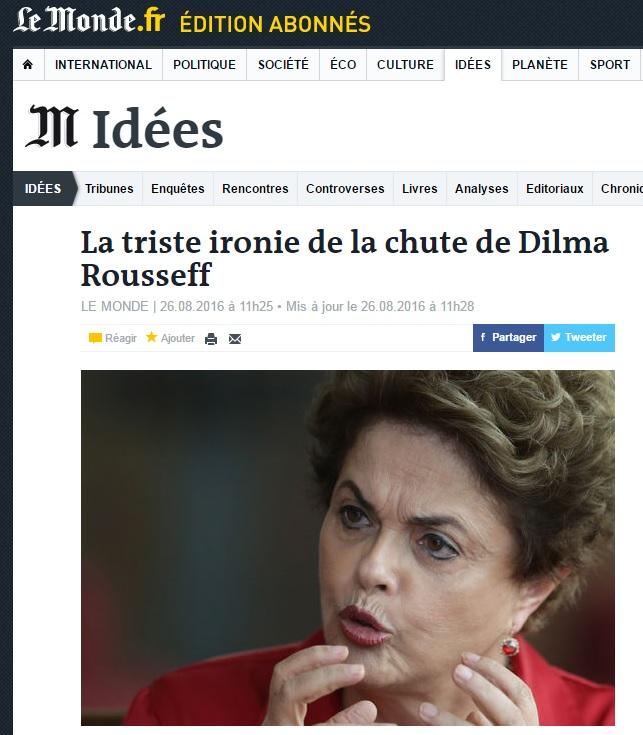 Após pedir renúncia de Dilma, 'Le Monde' chama impeachment de farsa política