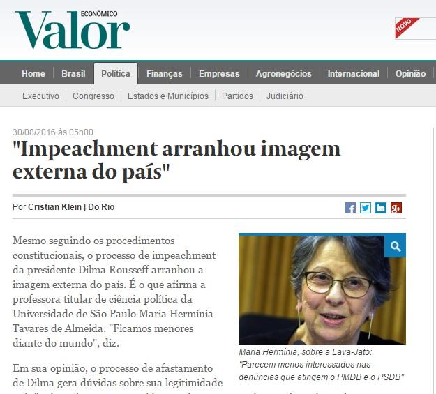 Impeachment de Dilma pode arranhar imagem do Brasil, diz cientista política