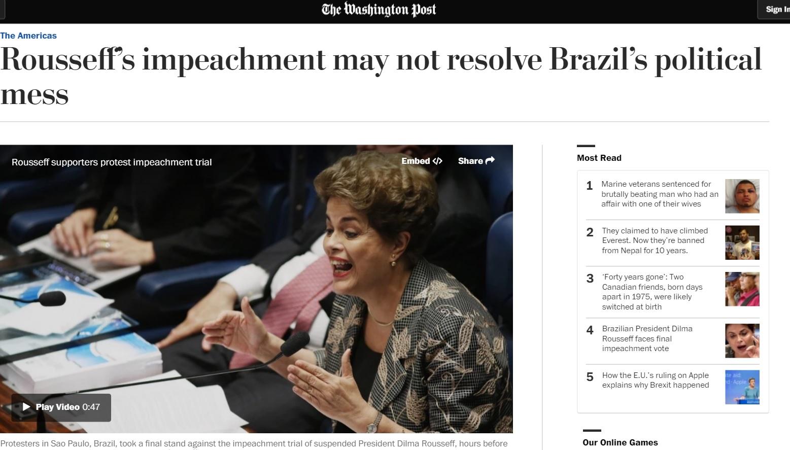 Impeachment reforça imagem 'disfuncional' da política brasileira no mundo