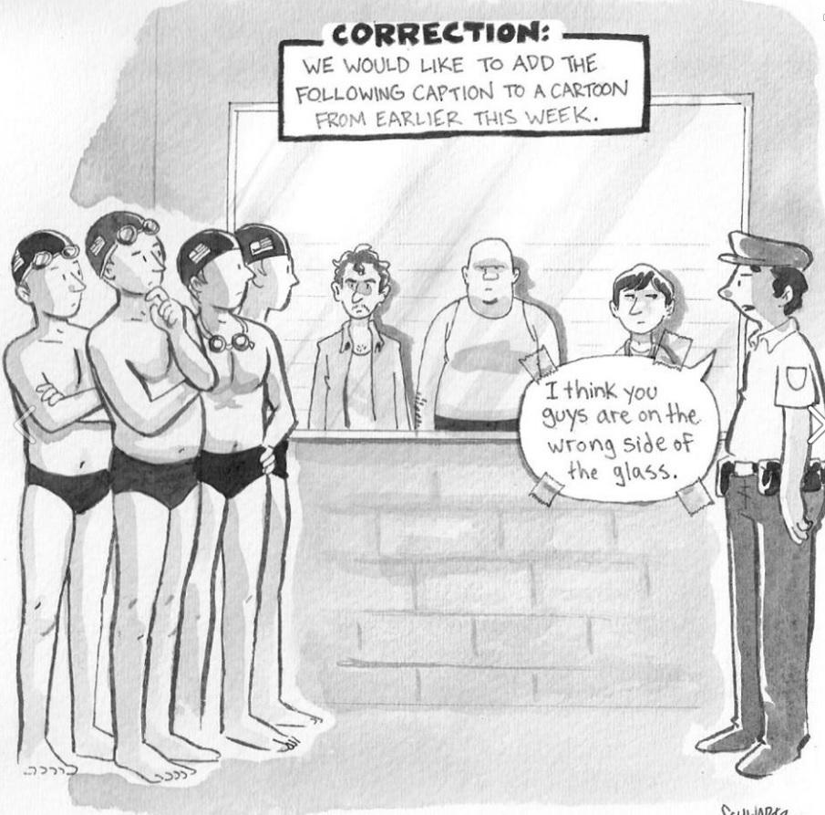 Charge da revista 'The New Yorker' foi corrigida após a revelação de que os nadadores mentiram