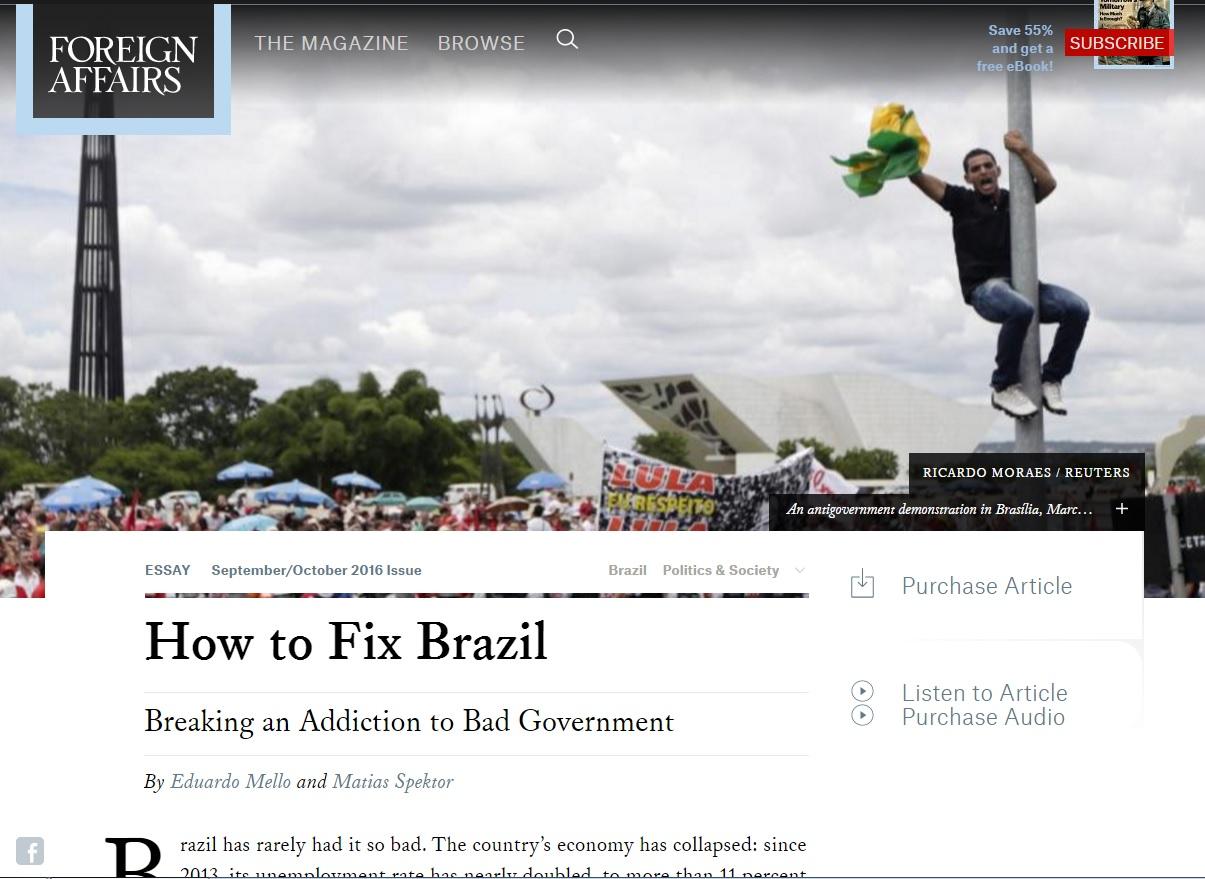 'Foreign Affairs': Sistema político brasileiro é 'viciado' em maus governos