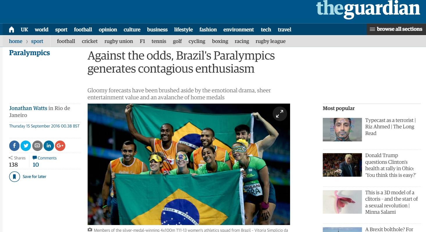 Após críticas nos Jogos, público da Paraolimpíada é elogiado no exterior