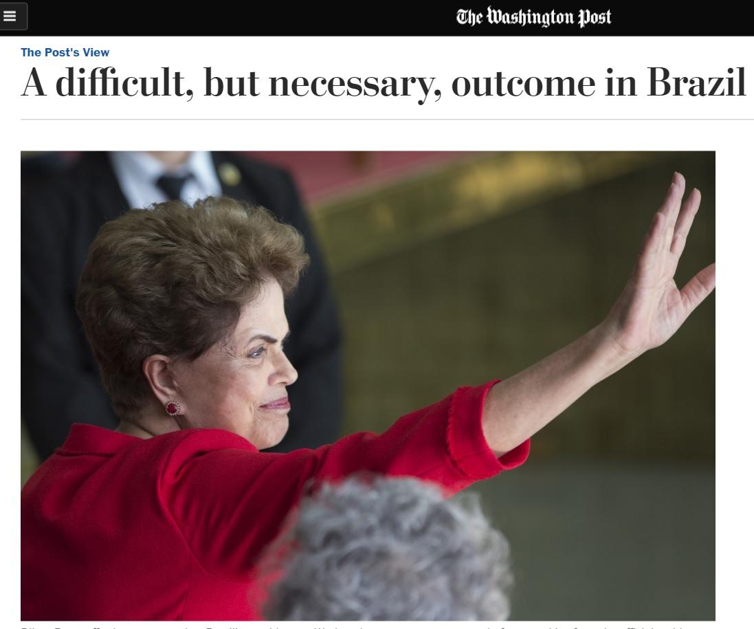 Em editorial, 'Washington Post' diz que impeachment era necessário