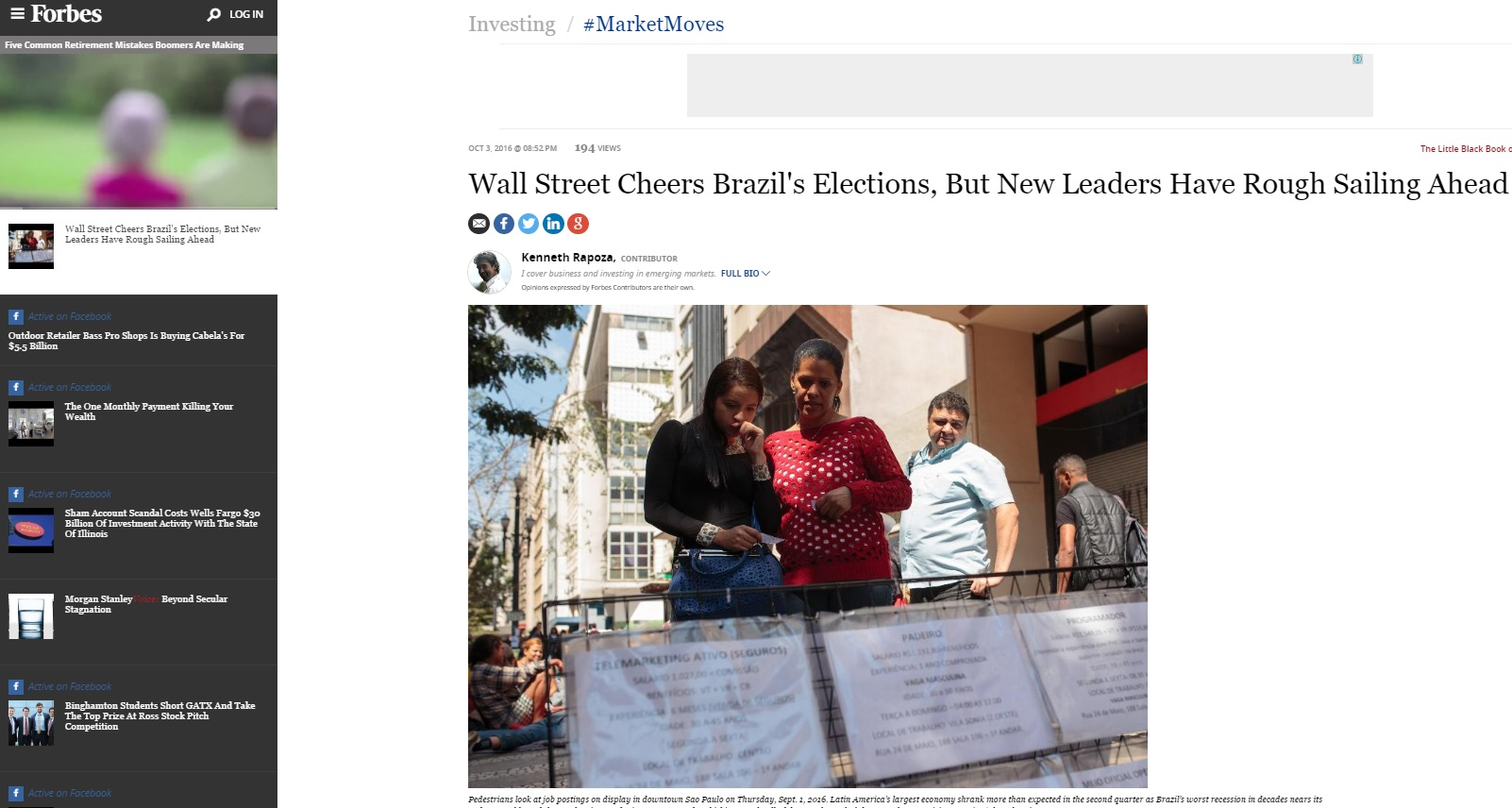 'Forbes': Mercado internacional comemora resultado da eleição no Brasil