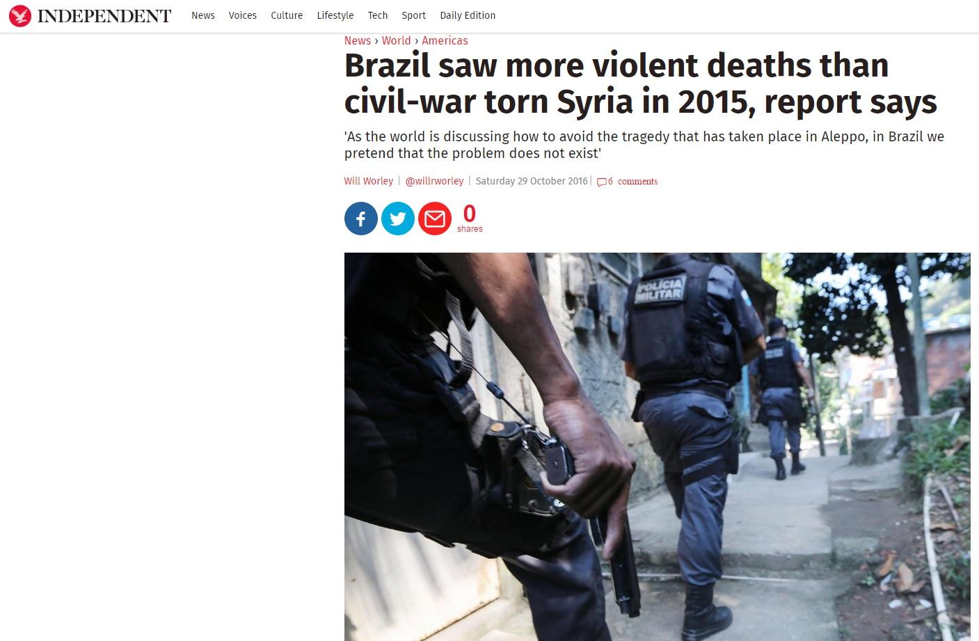 Imprensa estrangeira compara violência no Brasil a guerra na Síria