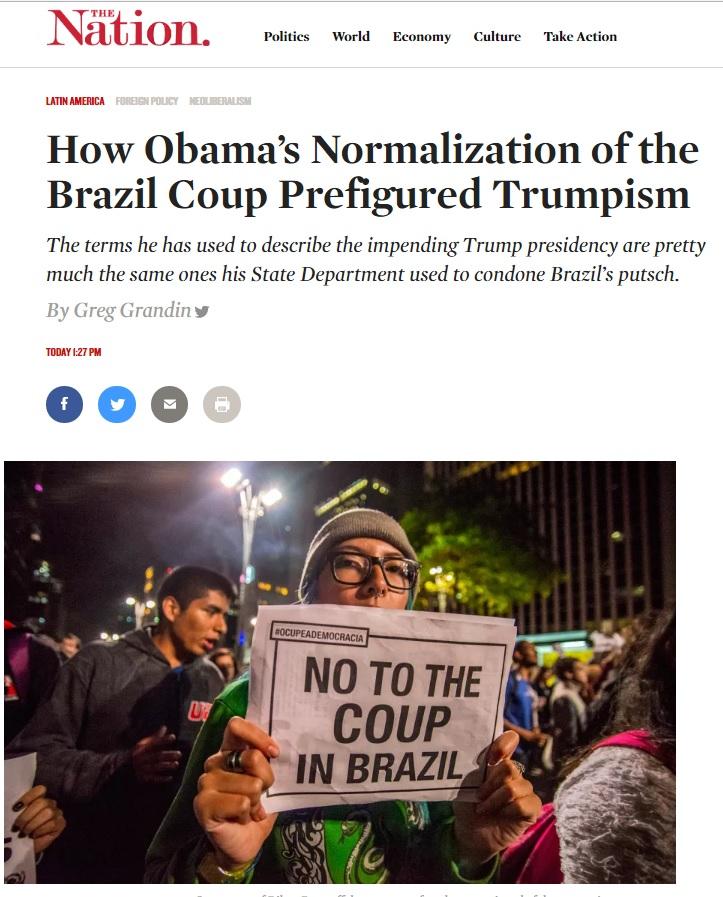 Greg Grandin: Postura de Obama sobre impeachment antecipou ascensão de Trump
