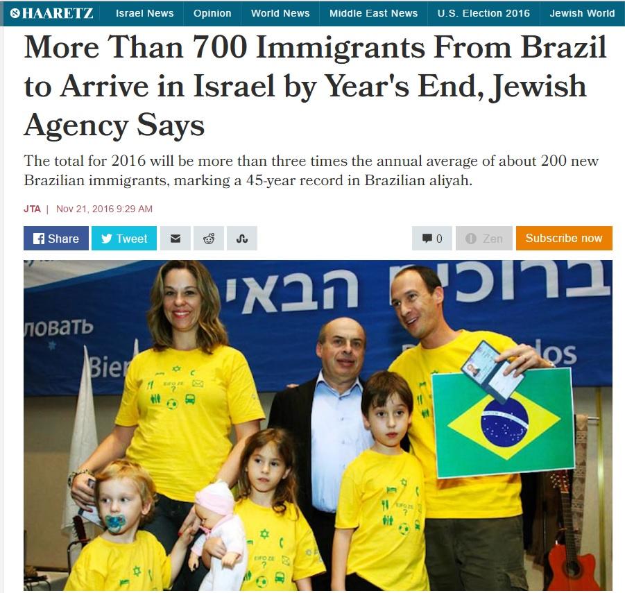 Deu no Haaretz: Violência faz migração de brasileiros para Israel triplicar em 2016