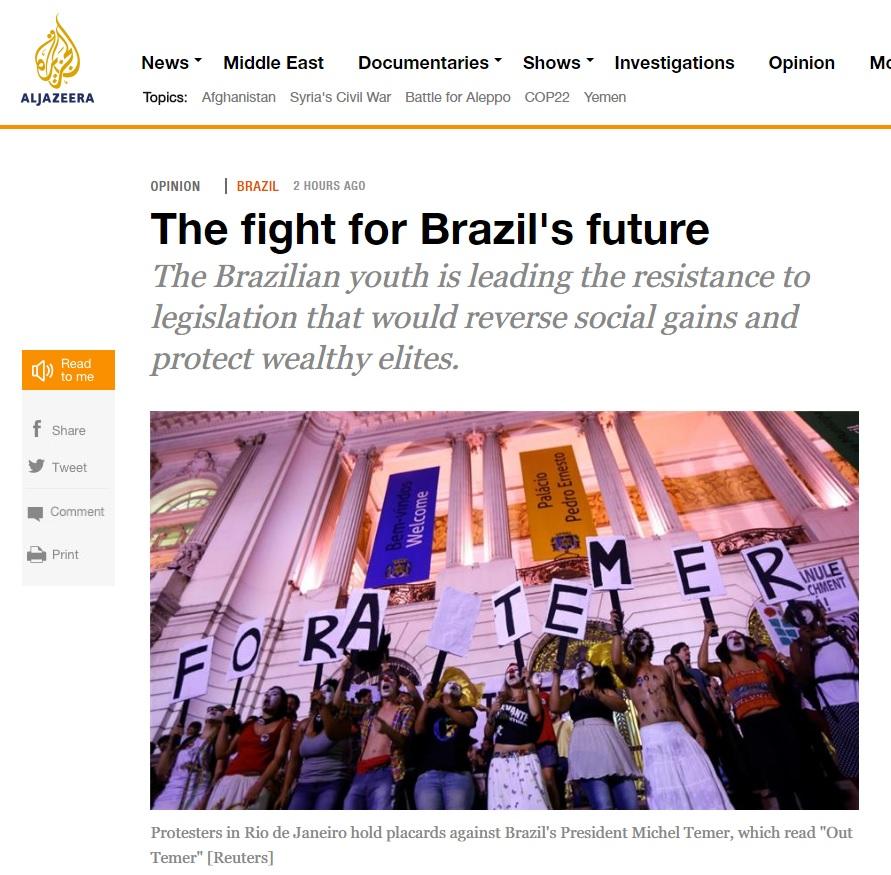 Brasil vive disputa política por seu futuro, diz artigo na 'Al Jazeera'