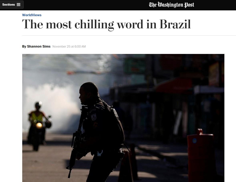 'Chacina' é a palavra mais assustadora do Brasil, diz 'Washington Post'