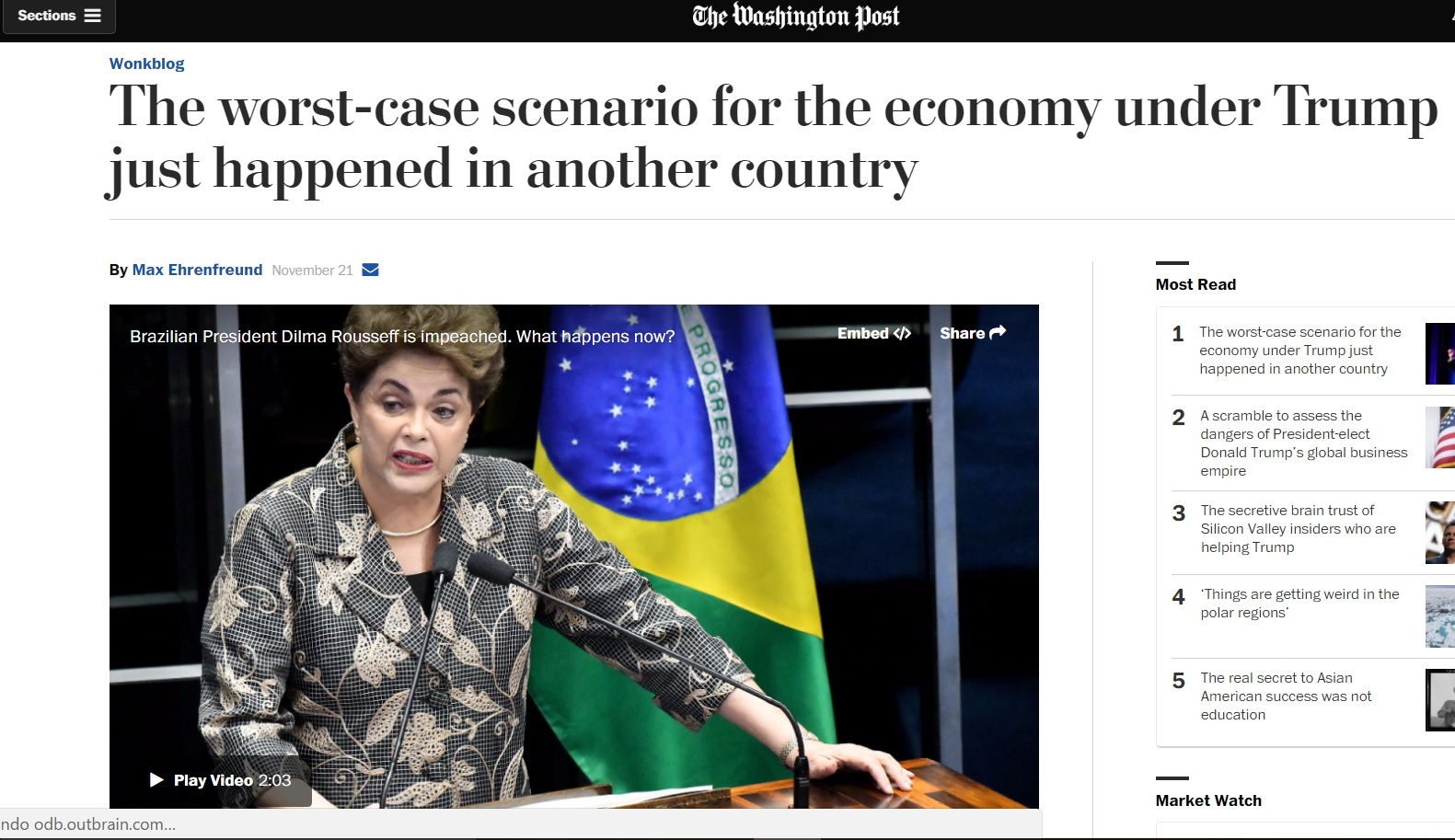 'Washington Post' compara Trump a 'populismo' de Dilma Rousseff