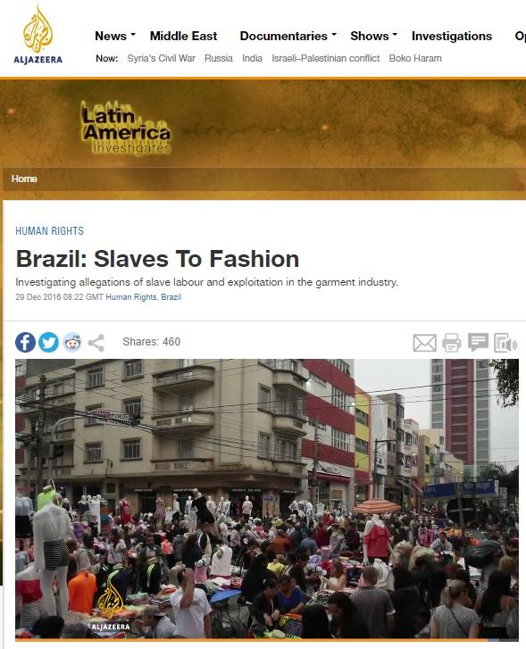 Al Jazeera exibe documentário sobre trabalho escravo em São Paulo