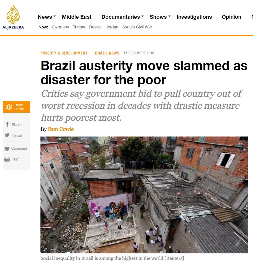 Deu na 'Al Jazera': Austeridade e Pec do Teto são desastre para os pobres