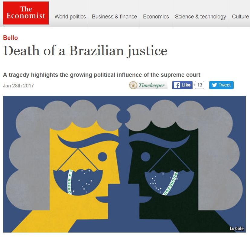 Morte de Teori expõe a crescente influência do Supremo na política brasileira, diz 'Economist'