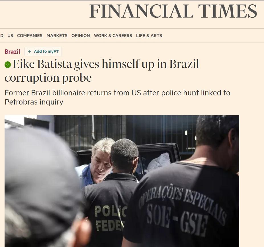 Prisão de Eike é simbolo global de crise e luta contra corrupção no Brasil