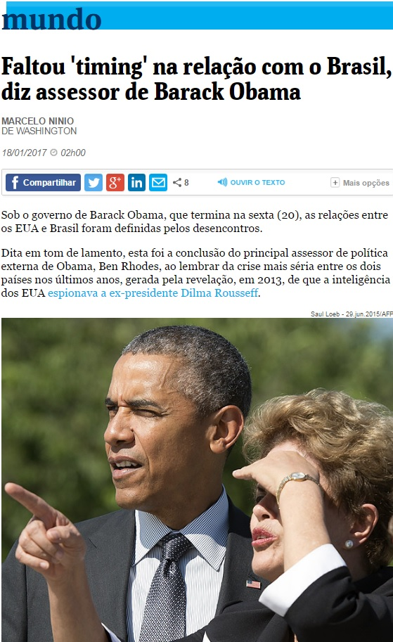 Deu na 'Folha': Relação de Obama com o Brasil foi definida por desencontros