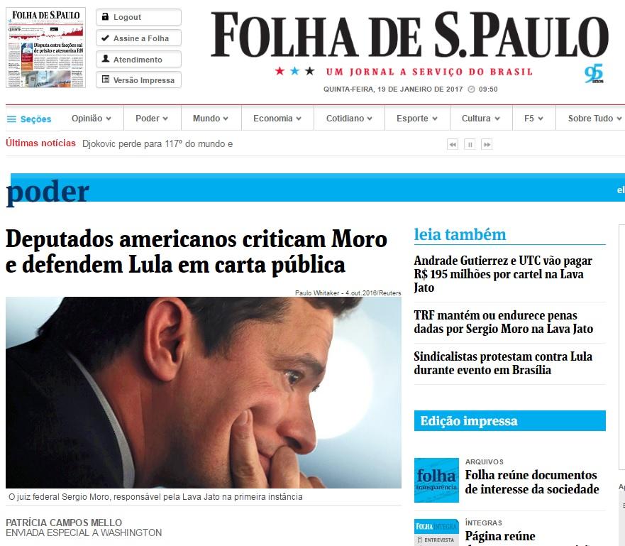 Deu na 'Folha': Em carta, deputados dos EUA criticam Moro e defendem Lula