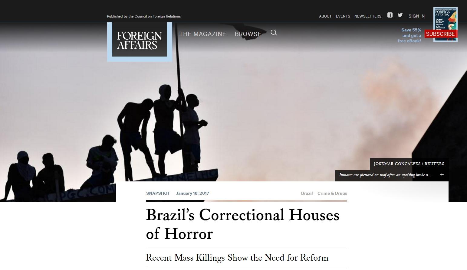 Onda de violência mostra que presídios brasileiros são um horror, diz mídia estrangeira