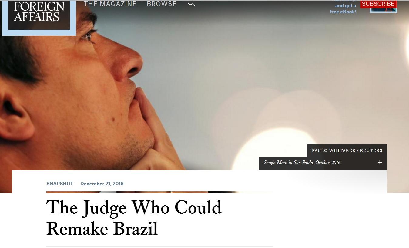 Robert Rotberg: Ação de Sergio Moro tem o potencial de transformar o Brasil