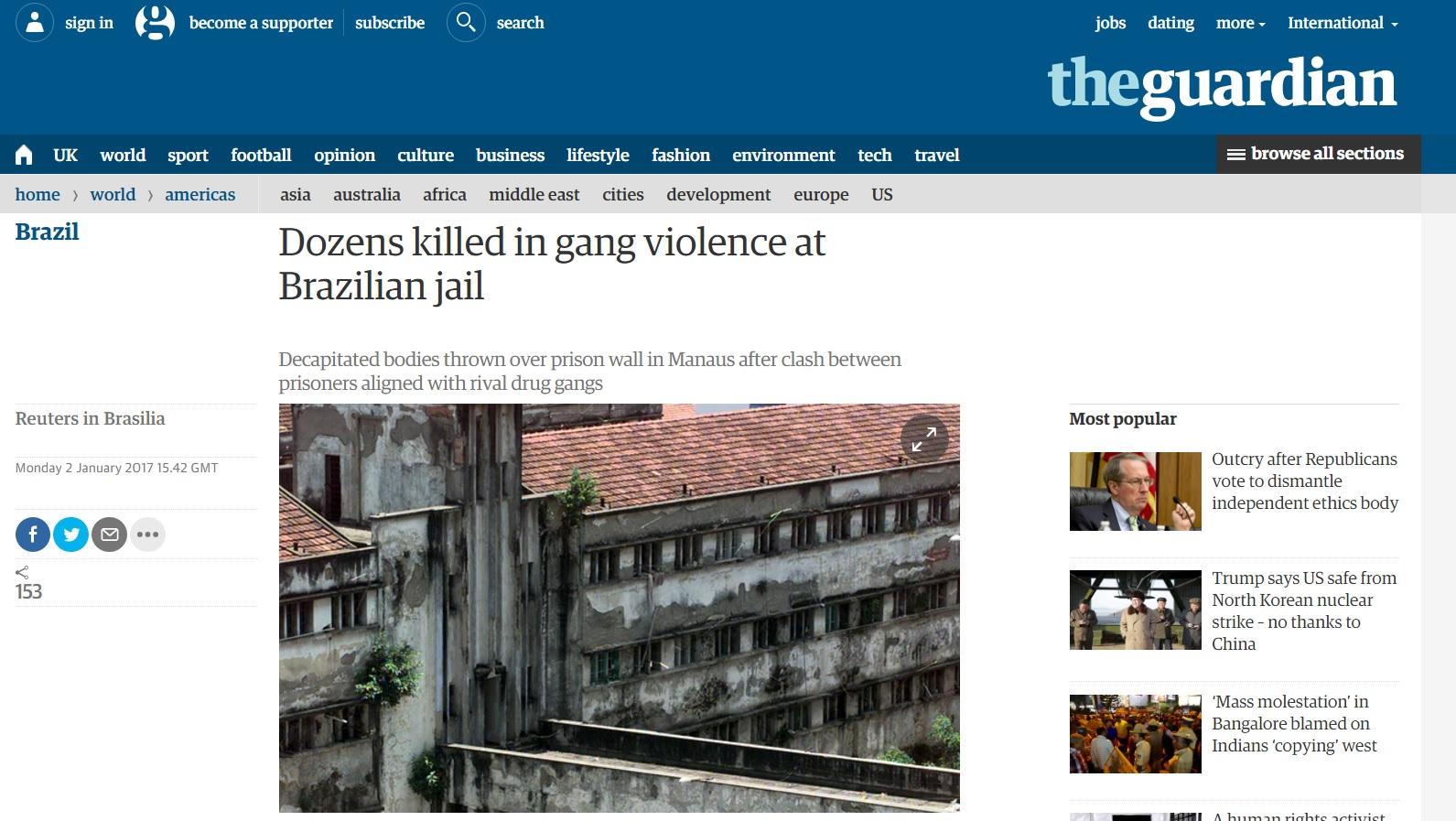 Massacre em Manaus reforça imagem global de 'inferno' dos presídios do Brasil