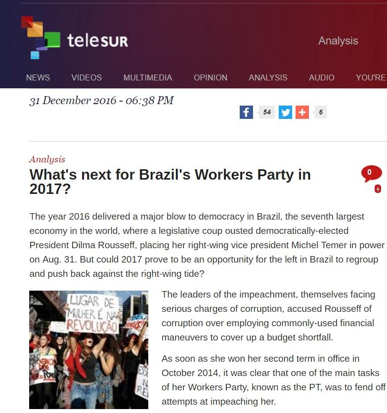 Ano novo é uma oportunidade para o PT se reorganizar, diz TV Venezuelana