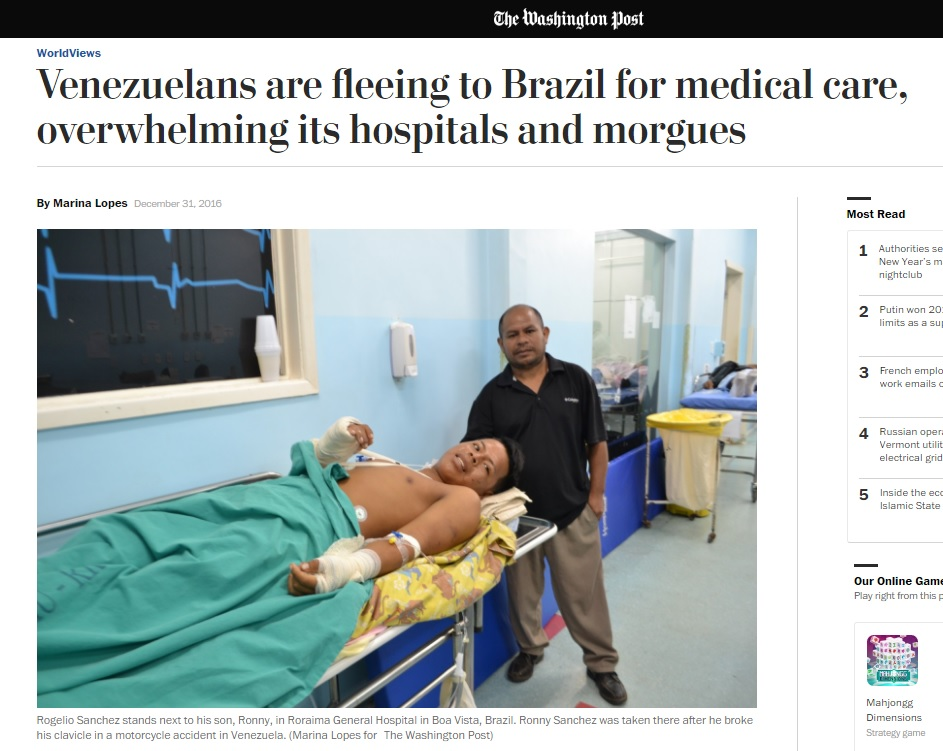 Reportagem do 'Washington Post' sobre venezuelanos buscando hospitais no Brasil