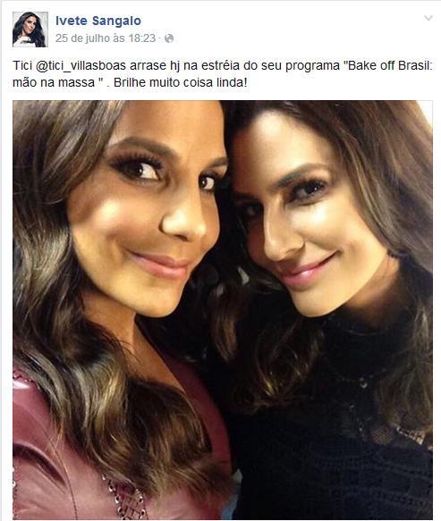 Ivete Sangalo posta mensagem para Ticiana Villas Boas no Facebook
