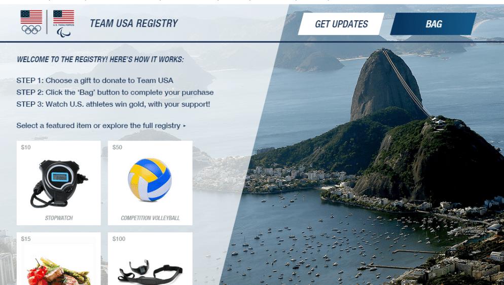 """Reprodução da página de """"venda"""" de itens da preparação dos EUA para os Jogos-2016"""