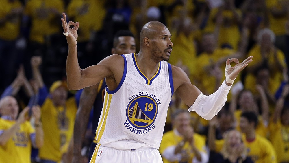 Golden State Warriors guard Leandro Barbosa (19) celebrates after making a three point basket against the Cleveland Cavaliers during the first half of Game 2 of basketball's NBA Finals in Oakland, Calif., Sunday, June 7, 2015. (AP Photo/Ben Margot)