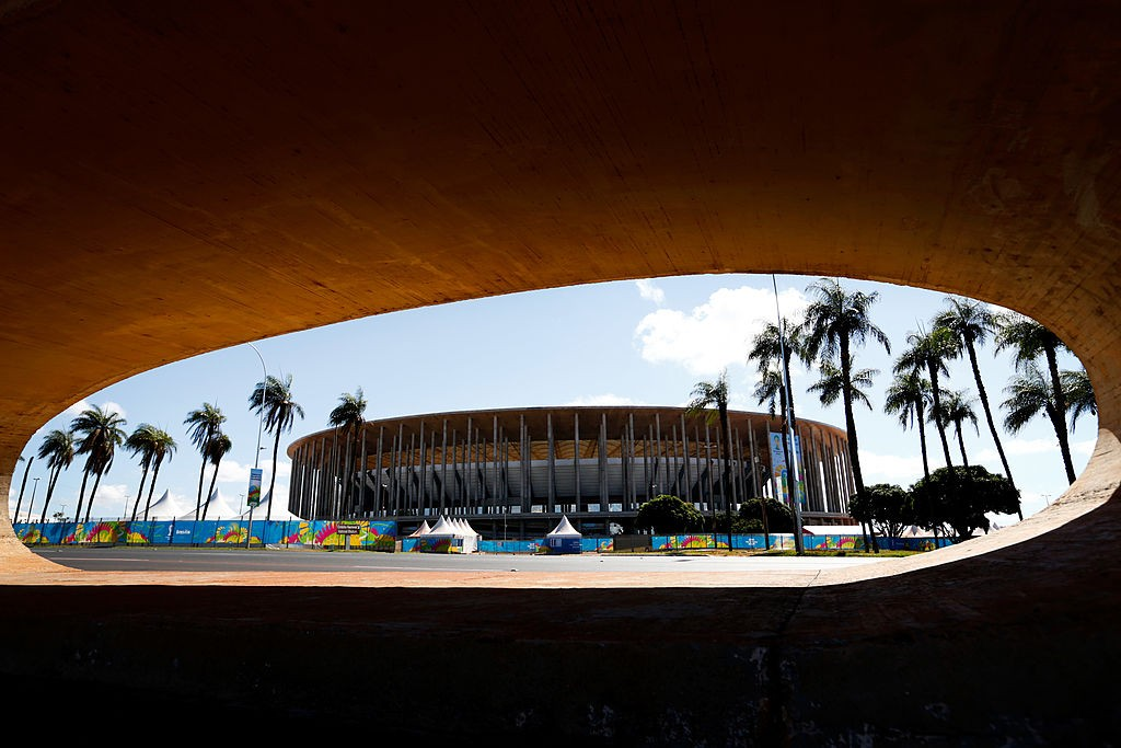 BRASILIA, BRAZIL - JUNE 12: The National Stadium of Brazil is pictured ahead of the 2014 FIFA World Cup on June 12, 2014 in Brasilia, Brazil. (Photo by Phil Walter/Getty Images)