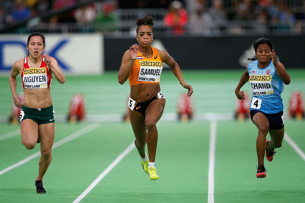 PORTLAND, OR - MARCH 19: (L-R) Anaszt¡zia Nguyen of Hungary, Jamile Samuel of the Netherlands and Dutee Chand of India compete in the Women's 60 Metres Heats during day three of the IAAF World Indoor Championships at Oregon Convention Center on March 19, 2016 in Portland, Oregon. (Photo by Christian Petersen/Getty Images for IAAF)
