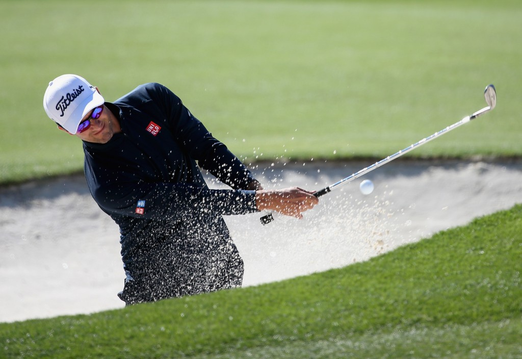 CHARLOTTE, NC - MAY 06: Adam Scott hits a shot out of the sand on the 15th hole during the second round of the 2016 Wells Fargo Championship at Quail Hollow Club on May 6, 2016 in Charlotte, North Carolina. (Photo by Streeter Lecka/Getty Images)