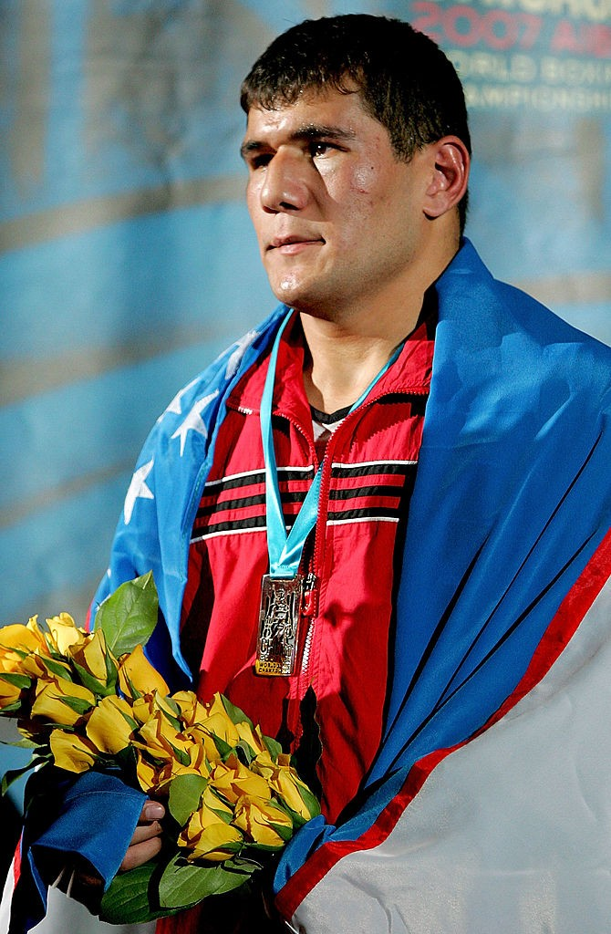 CHICAGO - NOVEMBER 3: Artur Beterbiev of Russia stands on the victory podium after his win over Abbos Atoev of Uzebekistan in the 81 kg division during the finals of the AIBA World Boxing Championships at the UIC Pavilion November 3, 2007 in Chicago, Illinois. (Photo by Matthew Stockman/Getty Images)