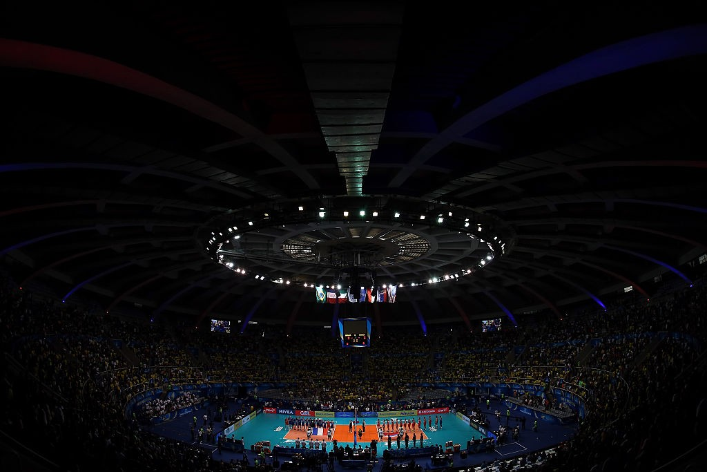 RIO DE JANEIRO, BRAZIL - JULY 19: A general view of the arena during the FIVB World League Group 1 Finals gold medal match between Serbia and France at Maracanazinho on July 19, 2015 in Rio de Janeiro, Brazil. Maracanazinho will host the volleyball competition during the Rio 2016 Olympic Games. (Photo by Matthew Stockman/Getty Images)