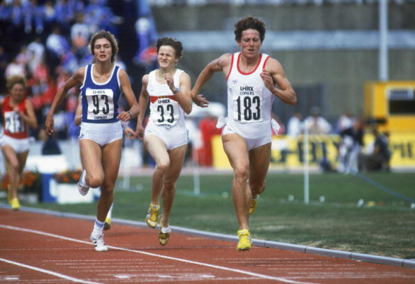 LONDON - AUGUST 21 : Jarmila Kratochvilova #183 of Czechoslovakia heads towards the finishing line in the 800 metres during the 1983 Europa Cup Final at the Crystal Palace National Sports Centre on August 21, 1983 in London, England. (Photo by Trevor Jones /Getty Images)
