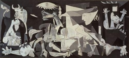 Guernica, painel pintado pelo artista espanhol Pablo Picasso (1881-1973). A pintura é, ao mesmo tempo, denúncia das atrocidades cometidas durante a Guerra Civil espanhola e manifesto pacifista de alcance universal.