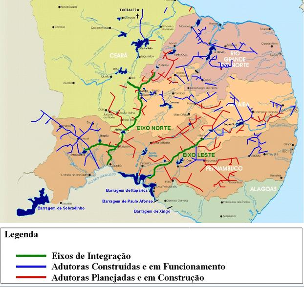 Mapa do Projeto de Integração do São Francisco