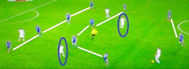 Flagrante das duas linhas de quatro do Leicester sem a bola que tenta ser compacta, mas dá espaços e permite linhas de passes (reprodução Fox Sports).