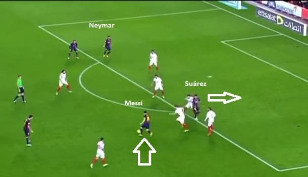Flagrante de Messi circulando às costas dos volantes entrando por dentro e Luis Suárez abrindo para arrastar a marcação ou receber a bola à direita.