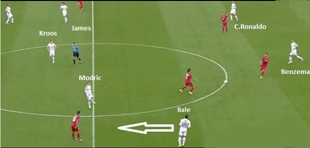 Flagrante da variação tática do Real Madrid sem a bola: 4-3-3 para o 4-4-2 com Bale voltando pela direita. Ideia de Carlo Ancelotti copiada por Rafa Benítez (reprodução ESPN Brasil).
