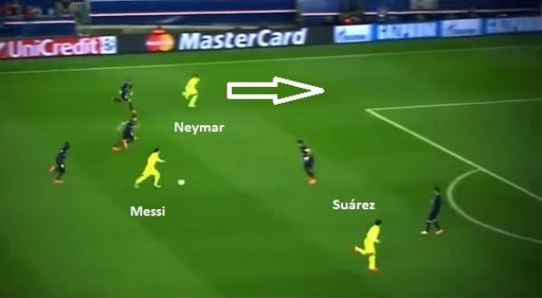 Gol de Neymar sobre o PSG: Messi aparece no centro e serve o brasileiro infiltrando em diagonal (reprodução ESPN Brasil).