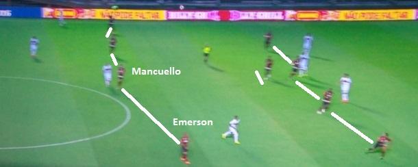 Flagrante do Flamengo se defendendo num 4-1-4-1, com Emerson voltando para recompor. Ainda deixa espaços na compactação, mas sem o buraco pela esquerda (reprodução TV Globo).